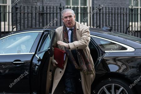 Attorney General Geoffrey Cox arriving in Downing Street to attend a Cabinet meeting this morning. An announcement on the high speed rail line 'HS2' is expected today.