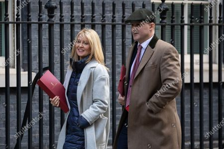 Minister of State for Housing Esther McVey and Minister for the Northern Powerhouse and Local Growth Jake Berry arriving in Downing Street to attend a Cabinet meeting this morning. An announcement on the high speed rail line 'HS2' is expected today.