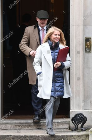 Britain's Minister of State for Housing Esther McVey leaves No.10 Downing Street in London. Britain 11 February 2020. Prime Minister Boris Johnson made a statement to the House of Commons announcing his plans for the HS2 high-speed railway.