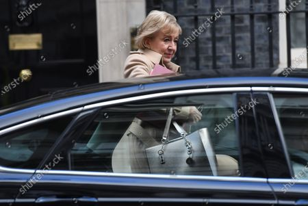 Britain's Business Secretary Andrea Leadsom leaves No.10 Downing Street in London. Britain 11 February 2020. Prime Minister Boris Johnson made a statement to the House of Commons announcing his plans for the HS2 high-speed railway.