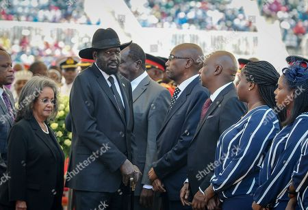 Salva Kiir, Sahle-Work Zewde. South Sudan's President Salva Kiir, center-left, and President of Ethiopia Sahle-Work Zewde, left, attend the state funeral for Kenya's former president Daniel arap Moi, at Nyayo Stadium in the capital Nairobi, Kenya, . Daniel arap Moi, a former schoolteacher who became Kenya's longest-serving president and led the East African nation through years of repression and economic turmoil fueled by runaway corruption, died Tuesday, Feb 4, 2020, aged 95