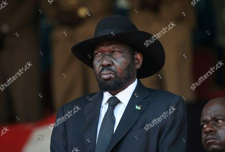 South Sudan's President Salva Kiir attends the state funeral of Kenya's former president Daniel arap Moi, at Nyayo Stadium in the capital Nairobi, Kenya, . Daniel arap Moi, a former schoolteacher who became Kenya's longest-serving president and led the East African nation through years of repression and economic turmoil fueled by runaway corruption, died Tuesday, Feb 4, 2020, aged 95