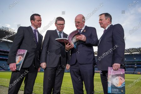Stock Photo of Director of Finance Ger Mulryan, Ard Stiurthoir Tom Ryan, Uachtaran John Horan, Stadium and Commercial Director Peter McKenna