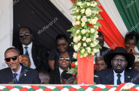 Stock Image of Rwanda's President Paul Kagame (L) and South Sudan's President Salva Kiir (R) look on during a memorial service of the late Daniel arap Moi, Kenya's second president, at Nyayo stadium in Nairobi, Kenya, 11 February 2020. The former president passed away on 04 February at the age of 95.