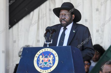 South Sudan's President Salva Kiir (C) speaks during a memorial service of the late Daniel arap Moi, Kenya's second president, at Nyayo stadium in Nairobi, Kenya, 11 February 2020. The former president passed away on 04 February at the age of 95.