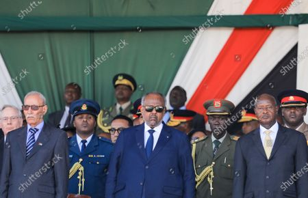 President of the Sahrawi Arab Democratic Republic Brahim Ghali (2-L), President of Djibouti Ismail Omar Guelleh (C) and President of Uganda Yoweri Museveni (2-R)gr stand during a memorial service of the late Daniel arap Moi, Kenya's second president, at Nyayo stadium in Nairobi, Kenya, 11 February 2020. The former president passed away on 04 February at the age of 95.