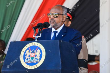 President of Djibouti, Ismail Omar Guelleh, speaks during a memorial service of the late Daniel arap Moi, Kenya's second president, at Nyayo stadium in Nairobi, Kenya, 11 February 2020. The former president passed away on 04 February at the age of 95.