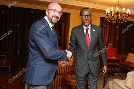 Stock Photo of Paul Kagame, President of Rwanda meets with Charles Michel, President of the European Council