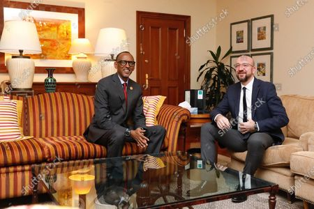 Paul Kagame, President of Rwanda meets with Charles Michel, President of the European Council