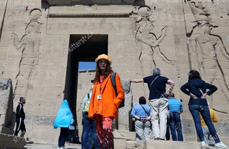 Victoria Abril poses in front of  Temple of Philae, Aswan, Egypt, 11 February 2020.  Abril is visiting Aswan to participate in the Aswan International Women Film Festival, running from 10 to 15 February.