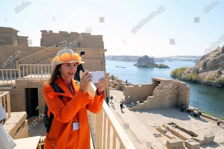 Victoria Abril tours inside Temple of Philae, Aswan, Egypt, 11 February 2020.  Abril is visiting Aswan to participate in the Aswan International Women Film Festival, running from 10 to 15 February.