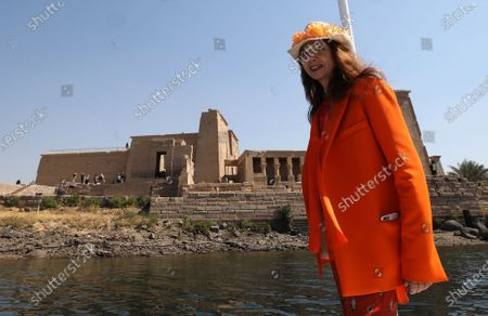 Victoria Abril sails on a boat towards Temple of Philae, Aswan, Egypt, 11 February 2020.  Abril is visiting Aswan to participate in the Aswan International Women Film Festival, running from 10 to 15 February.