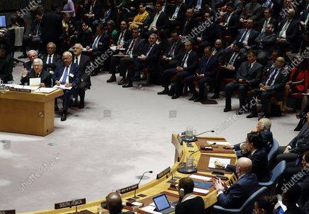 President of the State of Palestine Mahmoud Abbas (L) addresses the UN Security Council about the situation in the Middle East, including the Palestinian question at United Nations headquarters in New York, New York, USA, 11 February 2020.