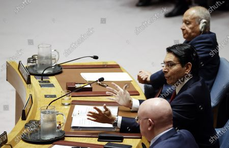 Stock Picture of Danny Danon (2-R), Israel's Permanent Representative to the United Nations, addresses the Security Council about the situation in the Middle East, including the Palestinian question at United Nations headquarters in New York, New York, USA, 11 February 2020.