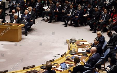 Danny Danon, Israel's Permanent Representative to the United Nations, (R) addresses the Security Council about the situation in the Middle East, including the Palestinian question while Mahmoud Abbas, President of the State of Palestine (L) listens at United Nations headquarters in New York, New York, USA, 11 February 2020.