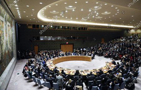President of the State of Palestine Mahmoud Abbas addresses the UN Security Council about the situation in the Middle East, including the Palestinian question at United Nations headquarters in New York, New York, USA, 11 February 2020.
