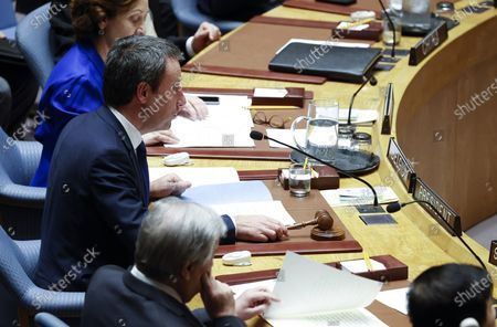 Philippe Goffin, Foreign Minister of Belgium and current President of Security Council chairs a meeting before Mahmoud Abbas, President of the State of Palestine addresses the Security Council about the situation in the Middle East, including the Palestinian question at United Nations headquarters in New York, New York, USA, 11 February 2020.