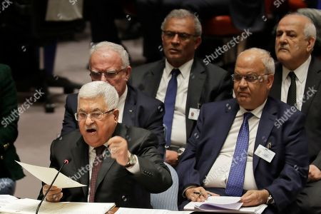 Palestinian President Mahmoud Abbas speaks during a Security Council meeting at United Nations headquarters