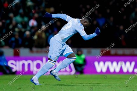 Leeds United forward Jean Kevin Augustin (29), on loan from Red Bull Leipzig, comes off the bench during the EFL Sky Bet Championship match between Brentford and Leeds United at Griffin Park, London