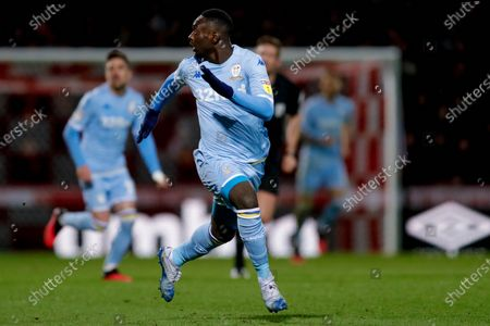 Leeds United forward Jean Kevin Augustin (29), on loan from Red Bull Leipzig, during the EFL Sky Bet Championship match between Brentford and Leeds United at Griffin Park, London