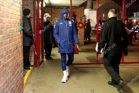 Leeds United forward Jean Kevin Augustin (29), on loan from Red Bull Leipzig, arriving during the EFL Sky Bet Championship match between Brentford and Leeds United at Griffin Park, London