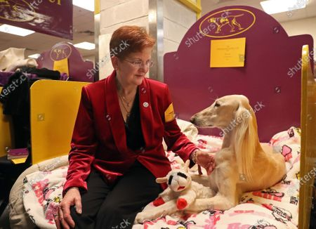 Stock Photo of Julie Mueller with her dog Stewart, a Saluki wait to compete in the dog show inside Madison Square Garden.