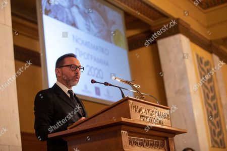 Bank of Greece governor Yannis Stournaras speaks during a presentation of commemorative coin issues for 2020 at the central bank's headquarters in Athens, on . The issues include a 2-euro coin bearing an ancient Greek soldier's helmet and struck to mark the 2,500th anniversary of the 480 B.C. Battle of Thermopylae. Greece is planning a series of events this year to mark the anniversary of Thermopylae, when a small Greek force fought to the last man to hold a strategic pass against an invading Persian army, and the more effective sea battle of Salamis in which a Greek fleet defeated the Persian navy, killing the momentum of the invasion