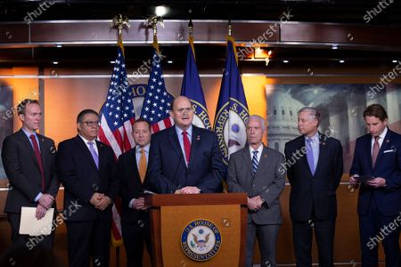 Problem Solvers Caucus Co-Chairs United States Representative Josh Gottheimer (Democrat of New Jersey) and United States Representative Tom Reed (Republican of New York), along with bipartisan members of the Problem Solvers Caucus, deliver remarks during a news conference regarding legislative goals for the upcoming year at the United States Capitol.