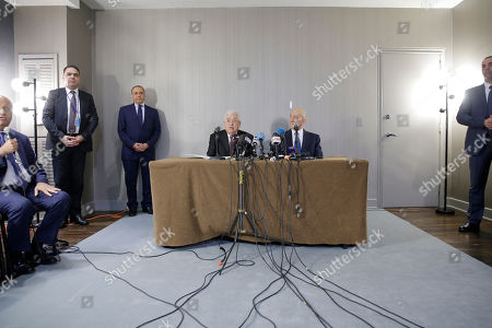 Mahmoud Abbas, Ehud Olmert. Palestinian President Mahmoud Abbas, center left, speaks while while former Israeli Prime Minister Ehud Olmert, center right, listens during a news conference in New York