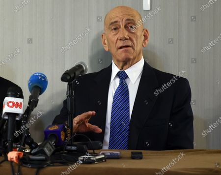 Former Israeli Prime Minister Ehud Olmert and Palestinian President Mahmoud Abbas (Unseen) hold a joint press conference at the Grand Hyatt Hotel in New York, New York, USA, 11 February 2020.