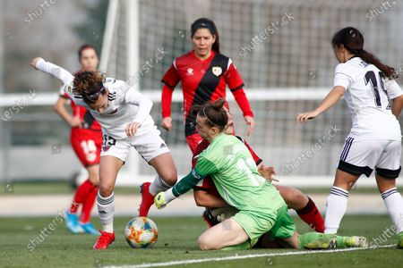 Stock Image of Esther Martin Pozuelo of CD Tacon and Patricia Larque of Rayo Vallecano in action