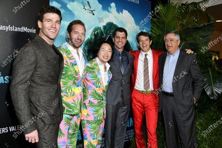Austin Stowell, Ryan Hansen, Jimmy O. Yang, Jeff Wadlow, Jason Blum and Tony Vinciquerra