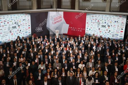 General view of an event with Mexican businessmen, in Mexico City, Mexico, 11 February 2020. Businessman Carlos Slim, considered the richest Mexican, highlighted the economic results of the Government of President Andres Manuel Lopez Obrador as the improvement of purchasing power and moderate inflation, although he asked to speed up investment in infrastructure in Mexico.