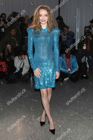Madeleine Arthur attends the Naeem Khan fashion show at the Zaha Hadid Building during NYFW Fall/Winter 2020, in New York