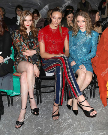 Larsen Thompson, Ava Michelle, Madeleine Arthur. Larsen Thompson, from left, Ava Michelle and Madeleine Arthur attend the Naeem Khan fashion show at the Zaha Hadid Building during NYFW Fall/Winter 2020, in New York
