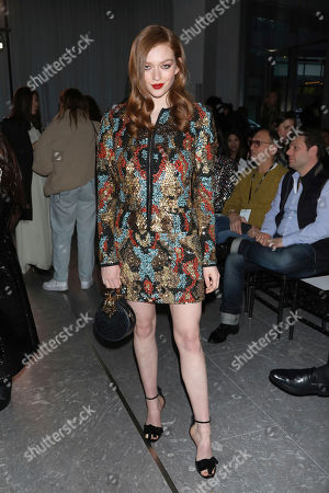 Larsen Thompson attends the Naeem Khan fashion show at the Zaha Hadid Building during NYFW Fall/Winter 2020, in New York