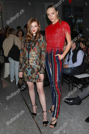 Larsen Thompson, Ava Michelle. Larsen Thompson, left, and Ava Michelle attend the Naeem Khan fashion show at the Zaha Hadid Building during NYFW Fall/Winter 2020, in New York