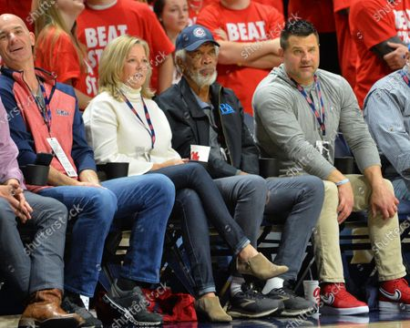 Morgan freeman enjoys the NCAA basketball game between the Mississippi State Bulldogs and the Ole' Miss Rebels at The Pavillion in Oxford, MS. Kevin Langley/Sports South Media/CSM