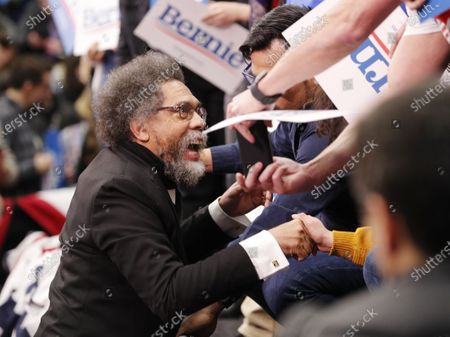US philosopher and political activist Cornel West greets supporters of Democratic presidential candidate Senator Bernie Sanders as results begin to come in during his primary night event at Southern New Hampshire University in Manchester, New Hampshire, USA, 11 February 2020.