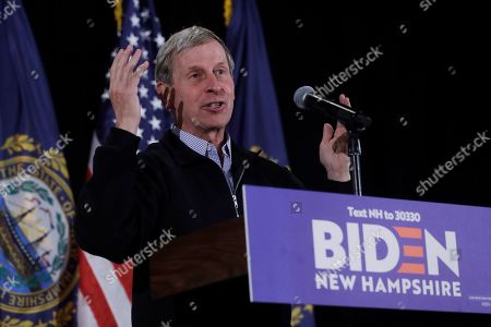 Former New Hampshire Gov. John Lynch speaks during a primary election night rally for Democratic presidential candidate former Vice President Joe Biden, in Nashua, N.H
