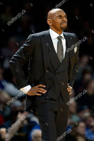 NAMES. Vanderbilt head coach Jerry Stackhouse watches the action from the bench area during the second half of an NCAA college basketball game against Kentucky, in Nashville, Tenn. Kentucky won 78-64