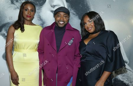 """Issa Rae, Will Packer, Stella Meghie. Actress Issa Rae, left, producer Will Packer and director Stella Meghie attend the world premiere of """"The Photograph"""" at the SVA Theatre, in New York"""