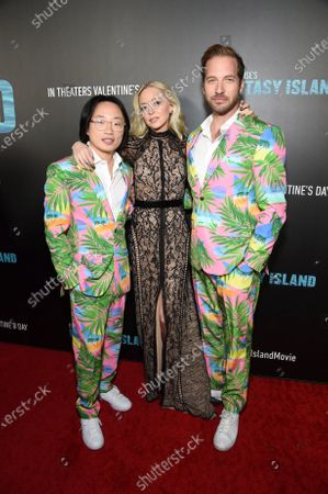 Jimmy O. Yang, Portia Doubleday and Ryan Hansen at the Los Angeles premiere of Columbia Pictures BLUMHOUSE'S FANTASY ISLAND