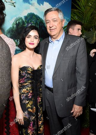Stock Picture of Lucy Hale and Tony Vinciquerra, Chairman and Chief Executive Officer, Sony Pictures Entertainment, at the Los Angeles premiere of Columbia Pictures BLUMHOUSE'S FANTASY ISLAND