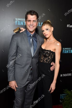 Jeff Wadlow, Director/Writer/Producer, and Charlotte McKinney at the Los Angeles premiere of Columbia Pictures BLUMHOUSE'S FANTASY ISLAND