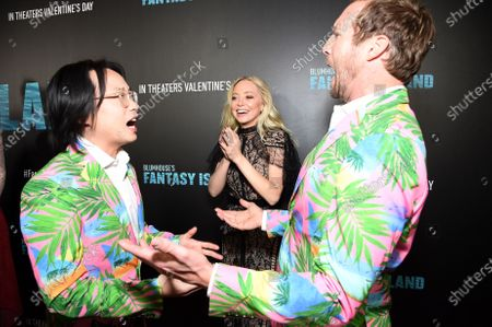 Jimmy O. Yang, Portia Doubleday and Ryan Hansen at the Los Angeles premiere of Columbia Pictures' BLUMHOUSE'S FANTASY ISLAND.