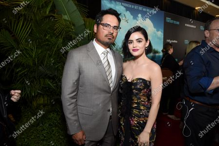 Michael Pena and Lucy Hale at the Los Angeles premiere of Columbia Pictures BLUMHOUSE'S FANTASY ISLAND