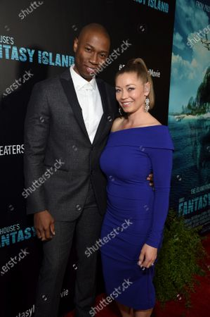 Robbie Jones and Sandi Tucker at the Los Angeles premiere of Columbia Pictures' BLUMHOUSE'S FANTASY ISLAND.