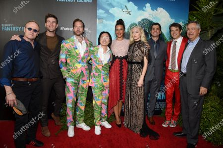 Michael Rooker, Austin Stowell, Ryan Hansen, Jimmy O. Yang, Parisa Fitz-Henley, Portia Doubleday, Jeff Wadlow, Director/Writer/Producer, Jason Blum, CEO of Blumhouse Productions, and Tony Vinciquerra, Chairman and Chief Executive Officer, Sony Pictures Entertainment, at the Los Angeles premiere of Columbia Pictures BLUMHOUSE'S FANTASY ISLAND