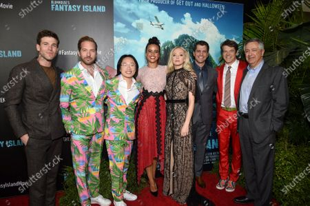 Austin Stowell, Ryan Hansen, Jimmy O. Yang, Parisa Fitz-Henley, Portia Doubleday, Jeff Wadlow, Director/Writer/Producer, Jason Blum, CEO of Blumhouse Productions, and Tony Vinciquerra, Chairman and Chief Executive Officer, Sony Pictures Entertainment, at the Los Angeles premiere of Columbia Pictures BLUMHOUSE'S FANTASY ISLAND